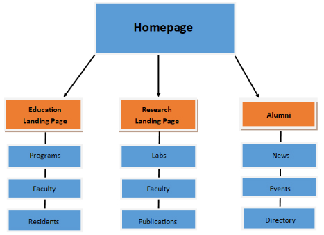 diagram of website pages beginning with a homepage, followed by landing pages for: Education, Research, and Alumni. Below each landing page are a pages of content for each of these sections.