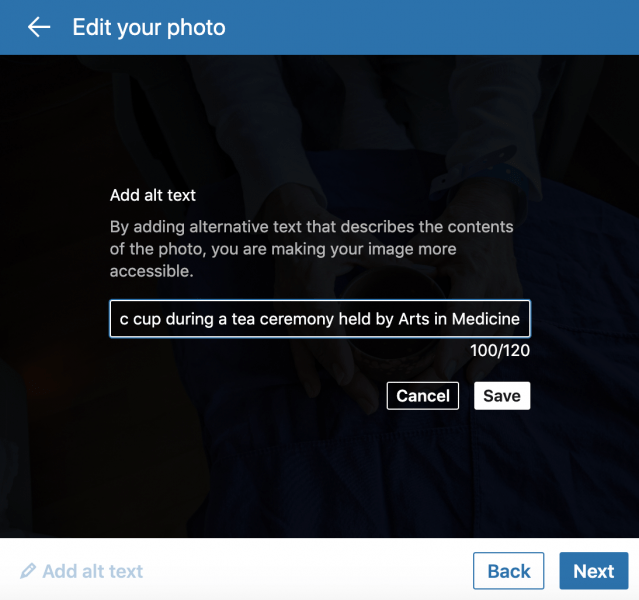 Screenshot of LinkedIn alt-text modal popup. You are limited to descriptions of 120 characters.