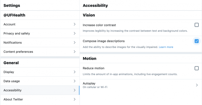 Twitter Accessibility popup.