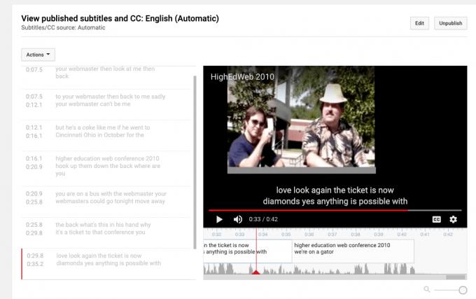 Video caption editing tool